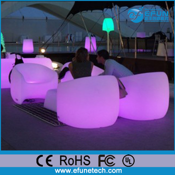 Outdoor Illuminated Bar Furniture Led Mood Light Up Color Changing Single Sofa