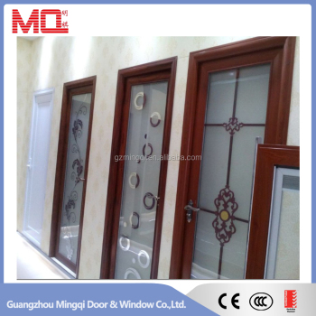 Cheap aluminum frosted glass interior bathroom door