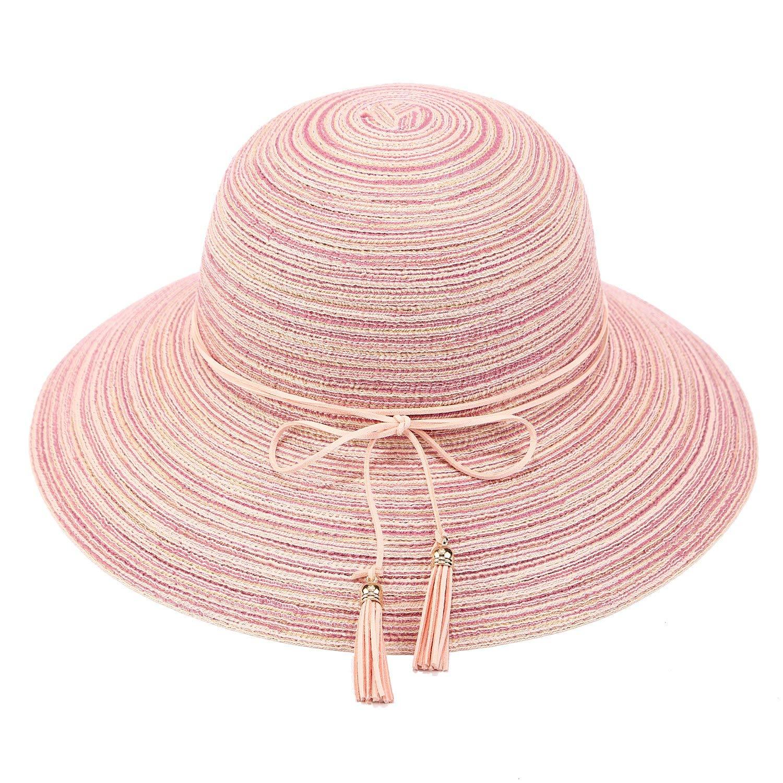 a9c769b2536 Get Quotations · VICVER Women Summer Floppy Sun Hat Wide Brim Beach Cap  Foldable Cotton Straw Hat with Tassel