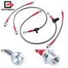 For Toyota Corolla E120 Front Rear Stainless Steel Braided Oil Hydraulic Brake Line Cable Hose Red End Cap Upgrade Replacement