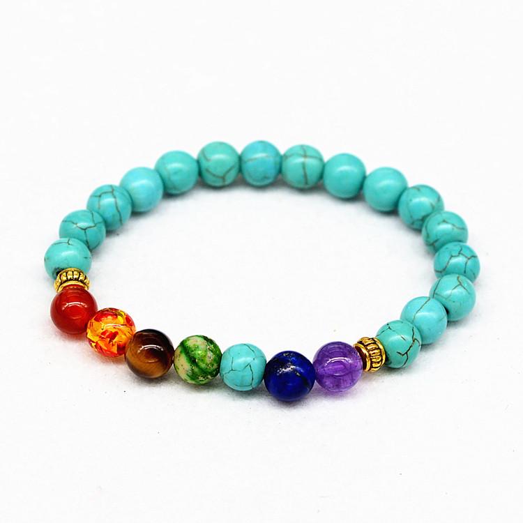 9d82219436f8 Yiwu joyería barata azul turquesa pulsera 8mm 7 chakra yoga oración piedra  pulsera