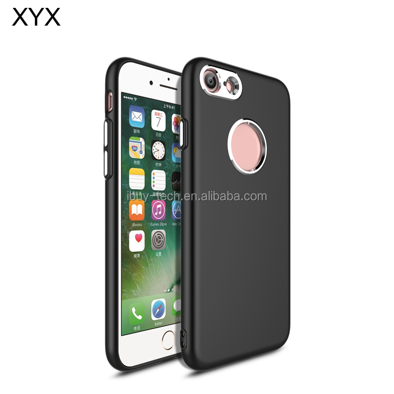 Good quality luxury design rubber coating TPU mobile phone case cover with metal key button for iphone 7
