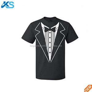 100% Preshrunk Cotton man short sleeve similar tuxedo silk screen printing t shirt