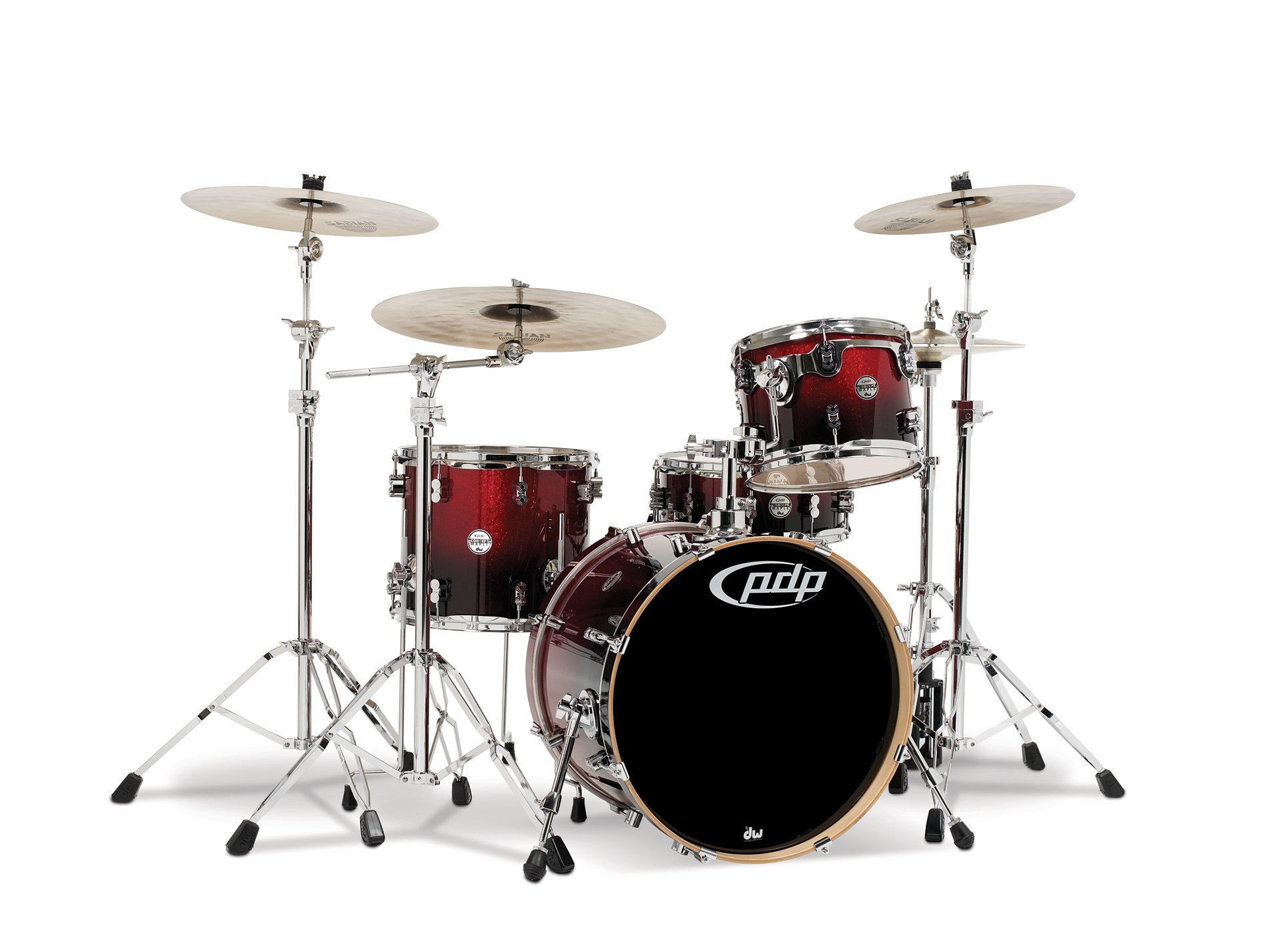 Pacific Drums PDCM2014RB 4-Piece Drumset with Chrome Hardware - Red to Black Fade