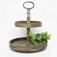 Rustic Vintage Kitchen Farmhouse Distressed 2 Tier Round Wooden Storage Tray