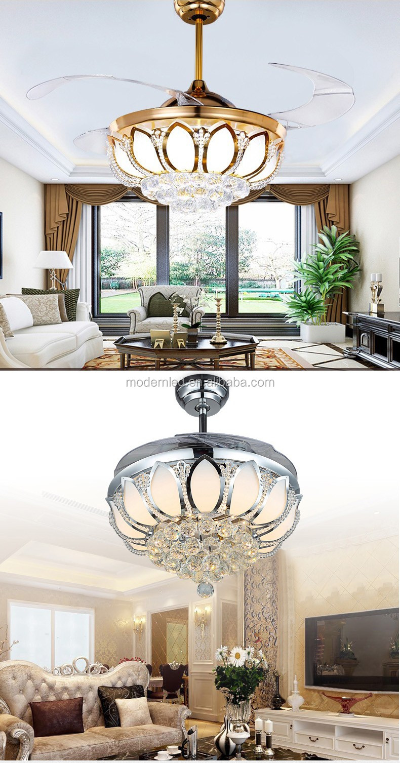 42 inch Modern Ceiling Fan With Lights Crystal Ventilador with Remote Control
