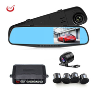 "4.3"" video recorder front and rear view dual camera car DVR with parking sensor"