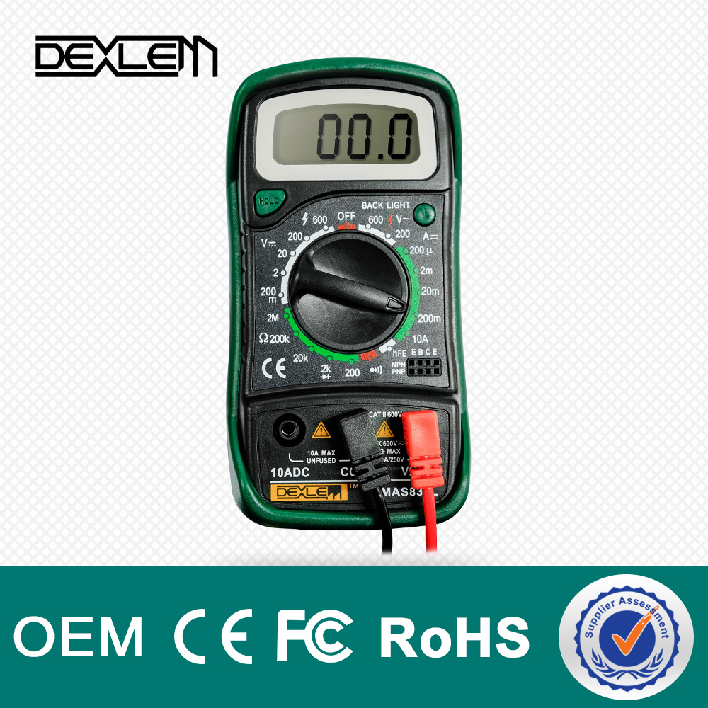Digital Multimeters DELE Mini Digital Auto Range Multimeter Tester Meter DMM DC AC Current Voltmeter Ohm with Backlight LCD