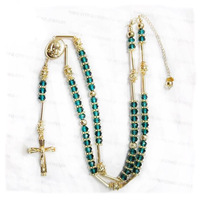 New design bling bling hip hop gold plated green crystal stone men rosary