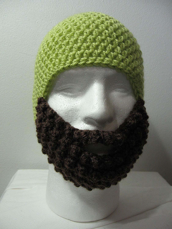 46f82e95c44 Get Quotations · Handmade Crochet Beard Hat in Lime Green