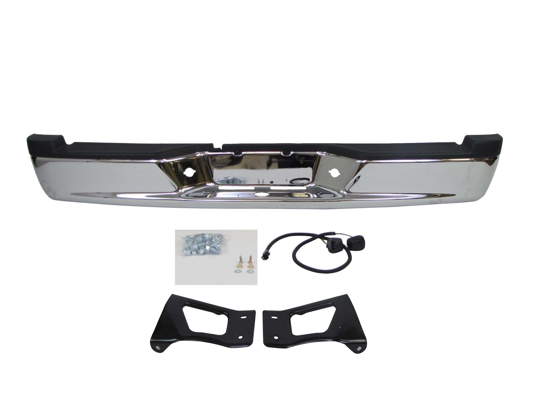 WITH SENSOR HOLE FOR 2013-2016 FRONTIER PICKUP REAR STEP BUMPER CHROME FULL ASSY ASSY WITH HITCH BAR PAD BRACKET LIC LAMP