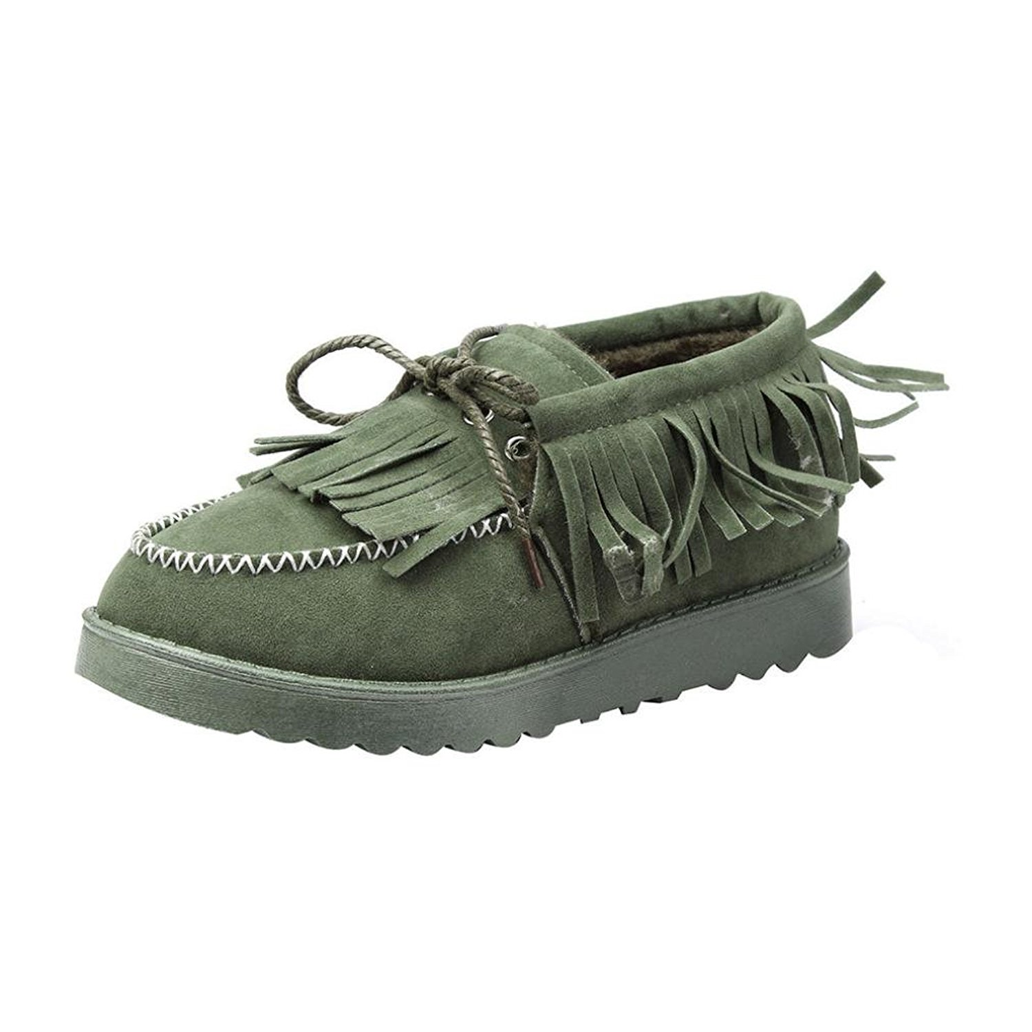 DEESEE(TM) Women Tassel Boots Flat Ankle Fur Lined Winter Warm Snow Shoes Lazy Shoes (US 5.5, Green)