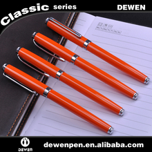 orange color metal ink pen for wholesale,high velue metal fountain pen,top selling metal pen