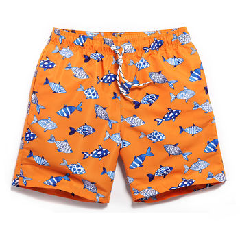 Custom Sublimation Fish Printed Fashion Cute Kids Boys Swimwear Beach Wear Shorts Swimming Trunks