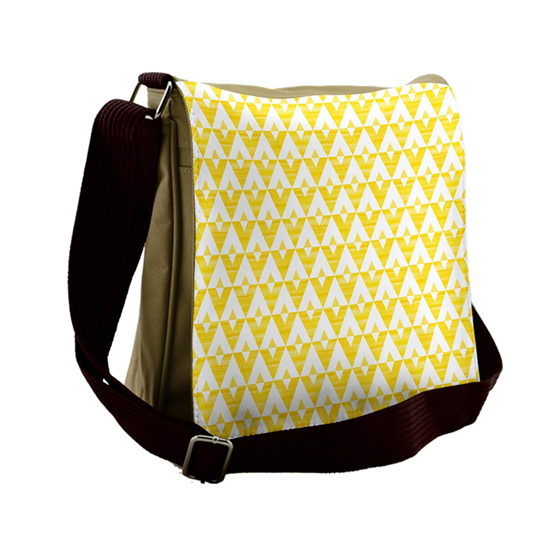 Lunarable Yellow and White Messenger Bag, V-Shaped Zigzag, Unisex Cross-body