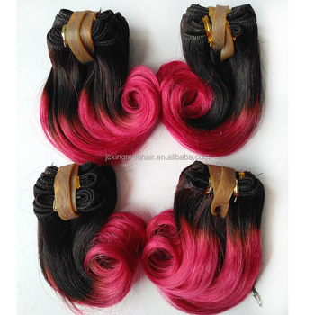 New Items Top Grade 1B/Rose Red Ombre Hair Extensions Virgin Hair Short Hair Brazilian Curly Weave