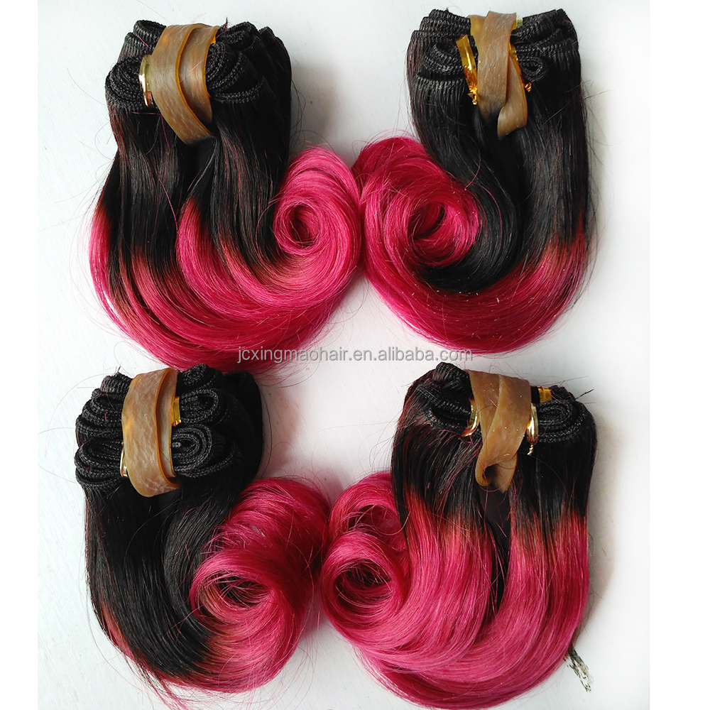 New Items Top Grade 1b Rose Red Ombre Hair Extensions Virgin Hair Short Hair Brazilian Curly Weave Buy Short Wavy Human Hair Extension Two Tone