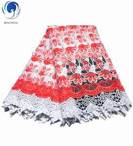 Beautifical white red african cord net lace french blouse 2019 new french tulle fabric with stones ML38N93