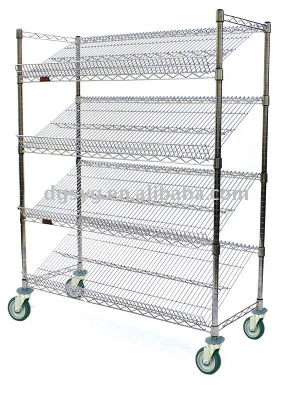 Slanted Stationary & Mobile Wire Shelving With Bins - Buy Wire ...