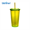 BPA FREE Double layer plastic beverage tumbler with straw