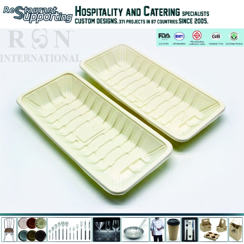 Wholesale Food Grade restaurant biodegradable cornstarch plastic tray