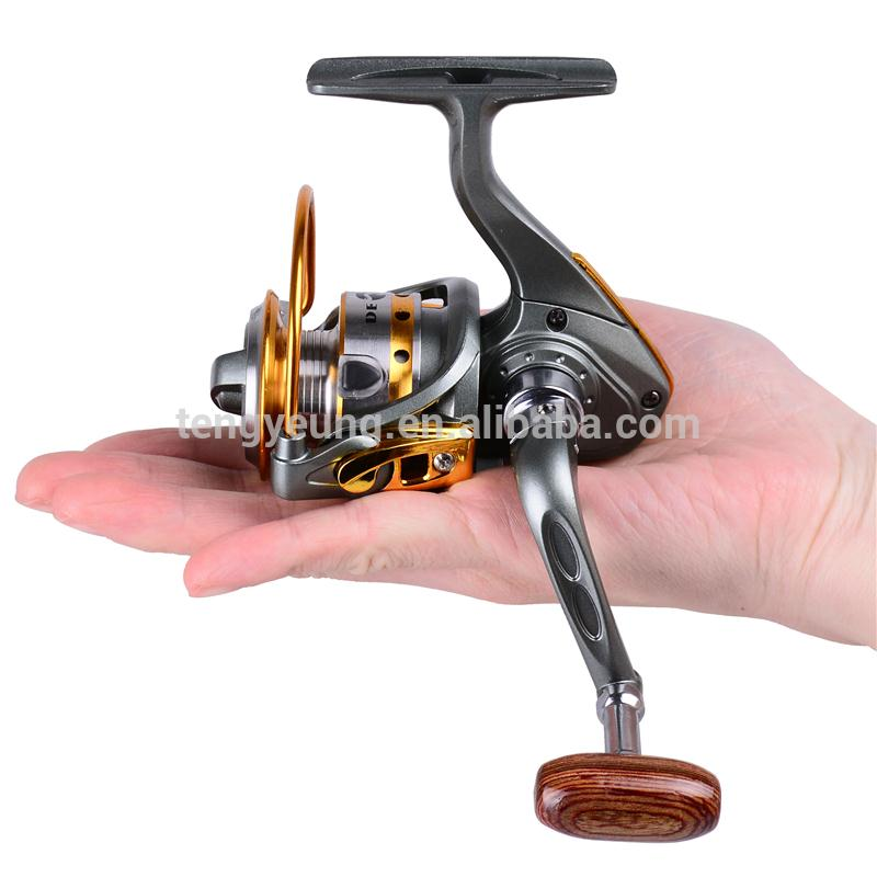 Mini Metal Spinning Fishing Reel DK150 5.2:1 12+1 Ball Bearings Left and Right Handle Exchangeable, Dark green;gold