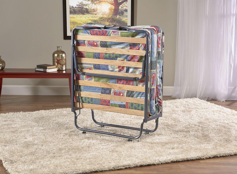 Deluxe Firenze Folding Rollaway Guest Bed with Memory Foam 4-inch Mattress