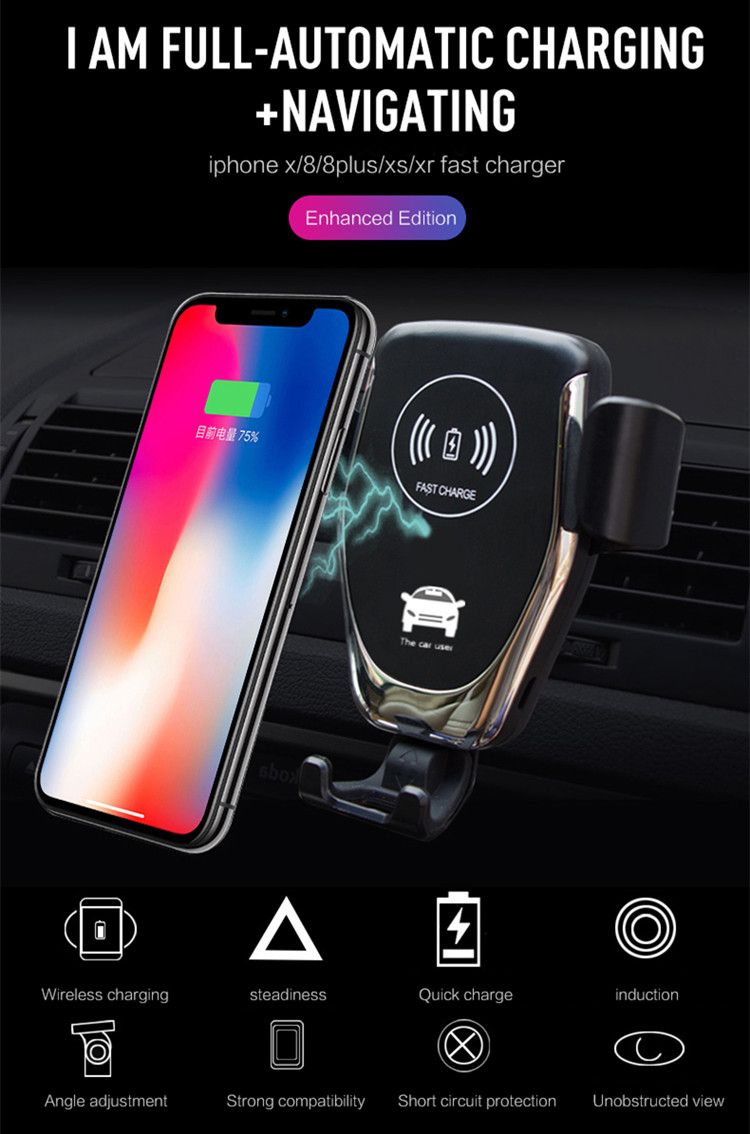 10W Fast Air Vent Wireless Charging Mount Holder for iPhone, Qi Wireless Car Charger for Samsung