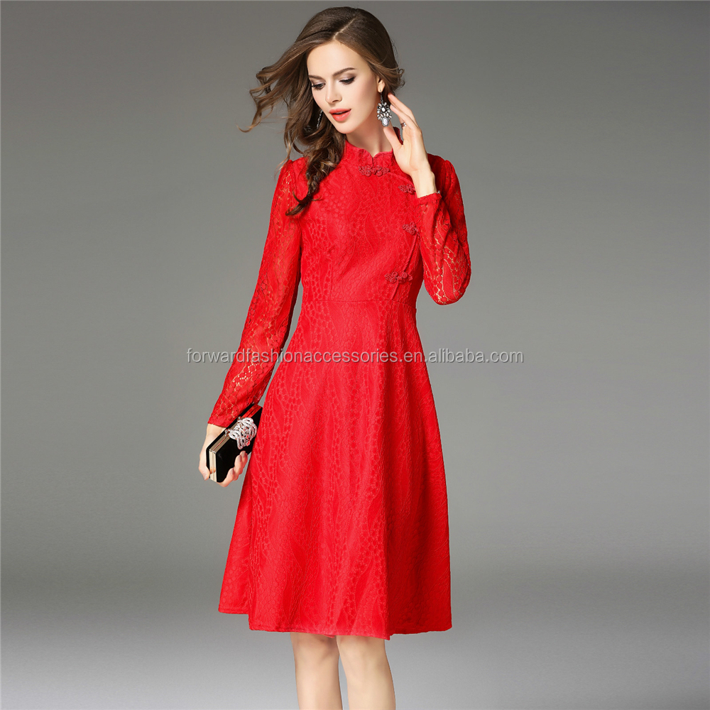 women winter wear long sleeve mandarin collar red lace one piece cocktail dress