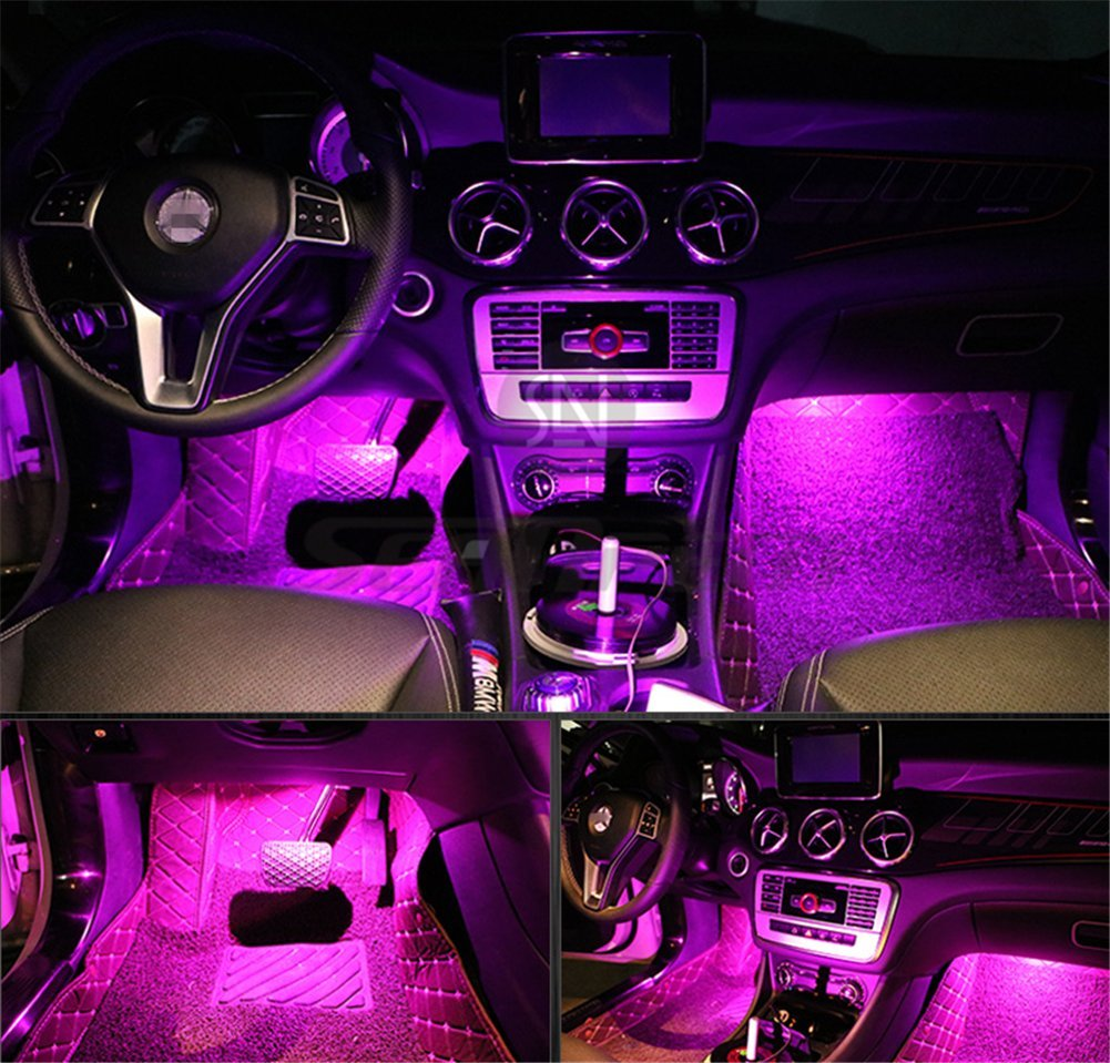 4Pcs Car LED Interior Underdash Lighting Kit w/ Sticker - Led Car Interior Light Auto Interior Lights Car Auto Interior LED Atmosphere Lights Purple- Price Xes
