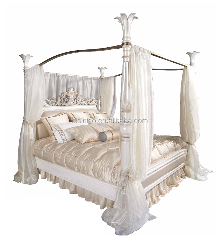 Nice Designed Clic European Solid Wood Carved Antique Snow White Four Poster Canopy Bed For Wedding Bf05 Ys033 Beds