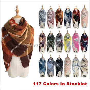 140x140cm winter acrylic cashmere Large Square blanket Tartan Plaid Pashmina Shawl Scarf with 117 colors