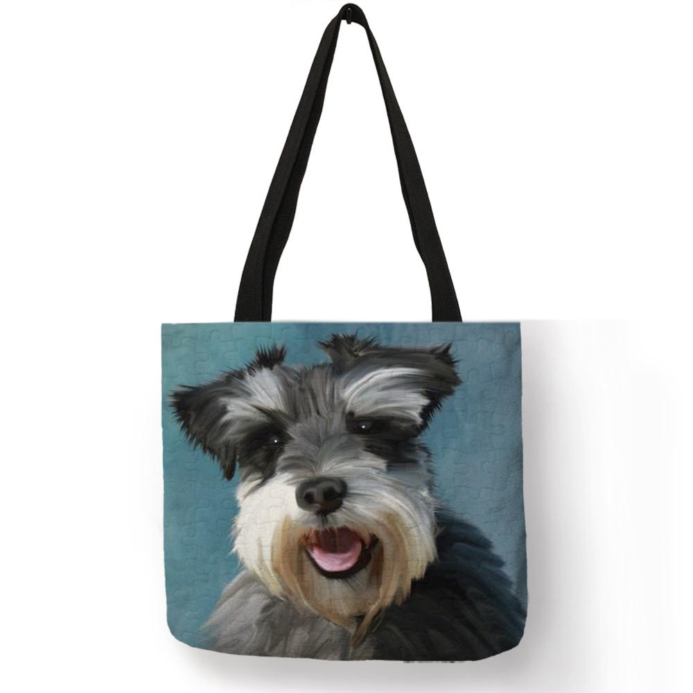 Прямая поставка, Schnauzer, сумки с рисунком собаки для женщин, женская сумка на плечо, Повседневная сумка для покупок, путешествий, школьные сум...(Китай)