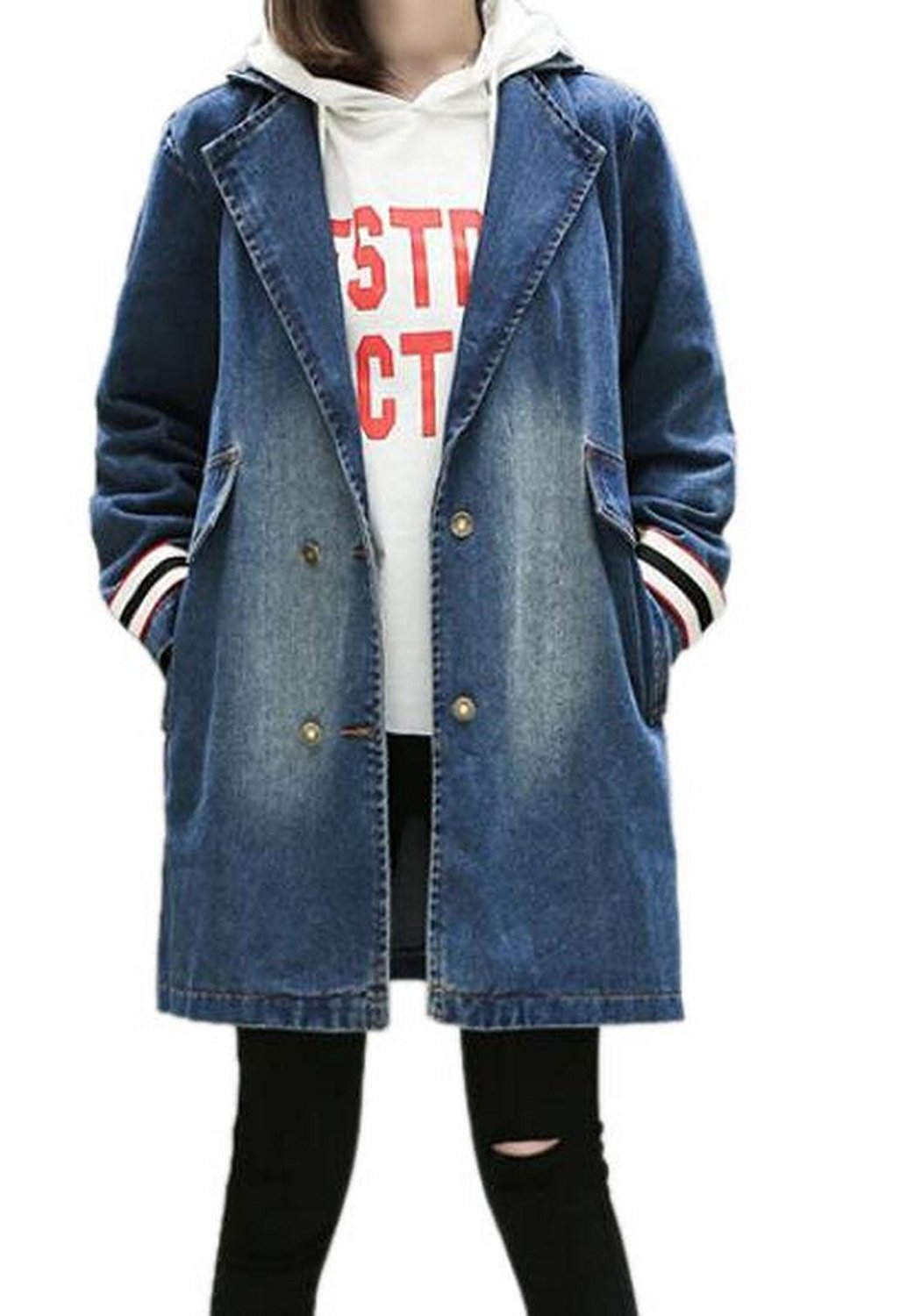 ONTBYB Womens Lapel Long Sleeve Double-Breasted Denim Jacket Trench Coat Outwear