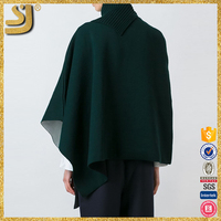 OEM factory price asymmetric wrap poncho topper, high neck