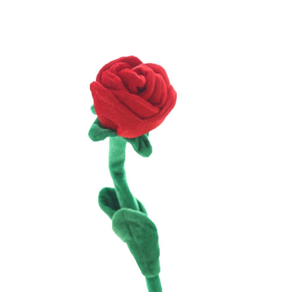 """8 Piece Colorful Bendable Stuffed Rose Plush Flower 12""""(8pcs red)"""