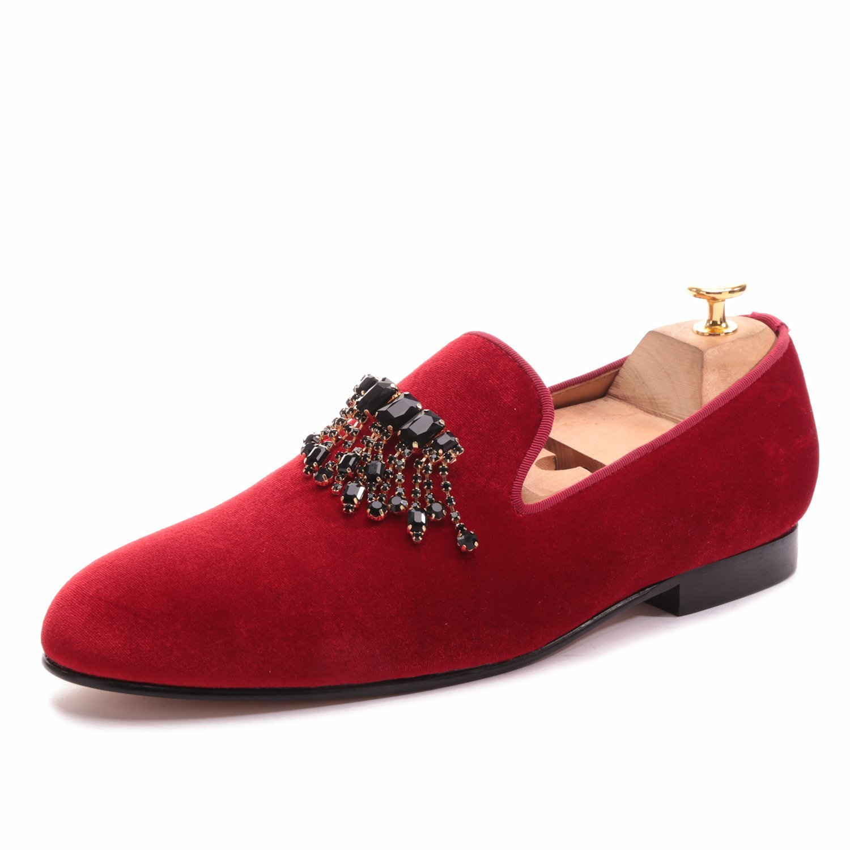 SANTIMON Men Loafers Smoking Slipper Embroidery Noble Handmade Velvet Casual Slip on Shoes