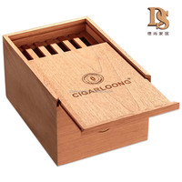 High Quality Handmade Natural Cedar Wooden Cigar Box With Slide Lid Gift Lighter Box
