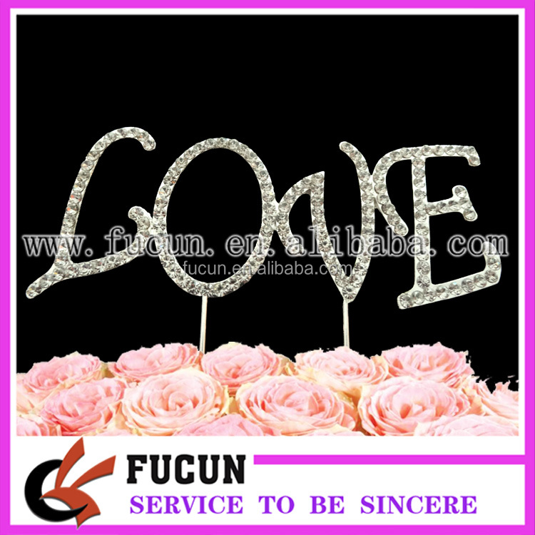 new products 2016 metal chinese different LOVE shape cake topper wedding souvenirs
