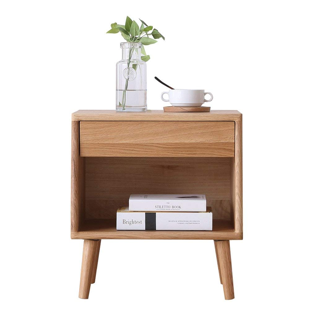 DDSS Bedside table - Wood Wax Oil-Free White Oak Bedside Cabinets Solid Wood Lockers Simple Small Chest Drawers Size -35.5x48x52cm /