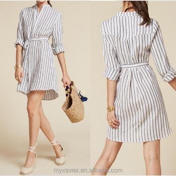 women linen dress long sleeve button front dress with a mandarin collar and  detached belt shirt