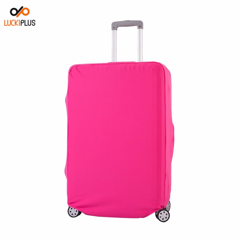 Luckiplus Thick Solid Color Luggage Cover Pink Spandex Suitcase Cover