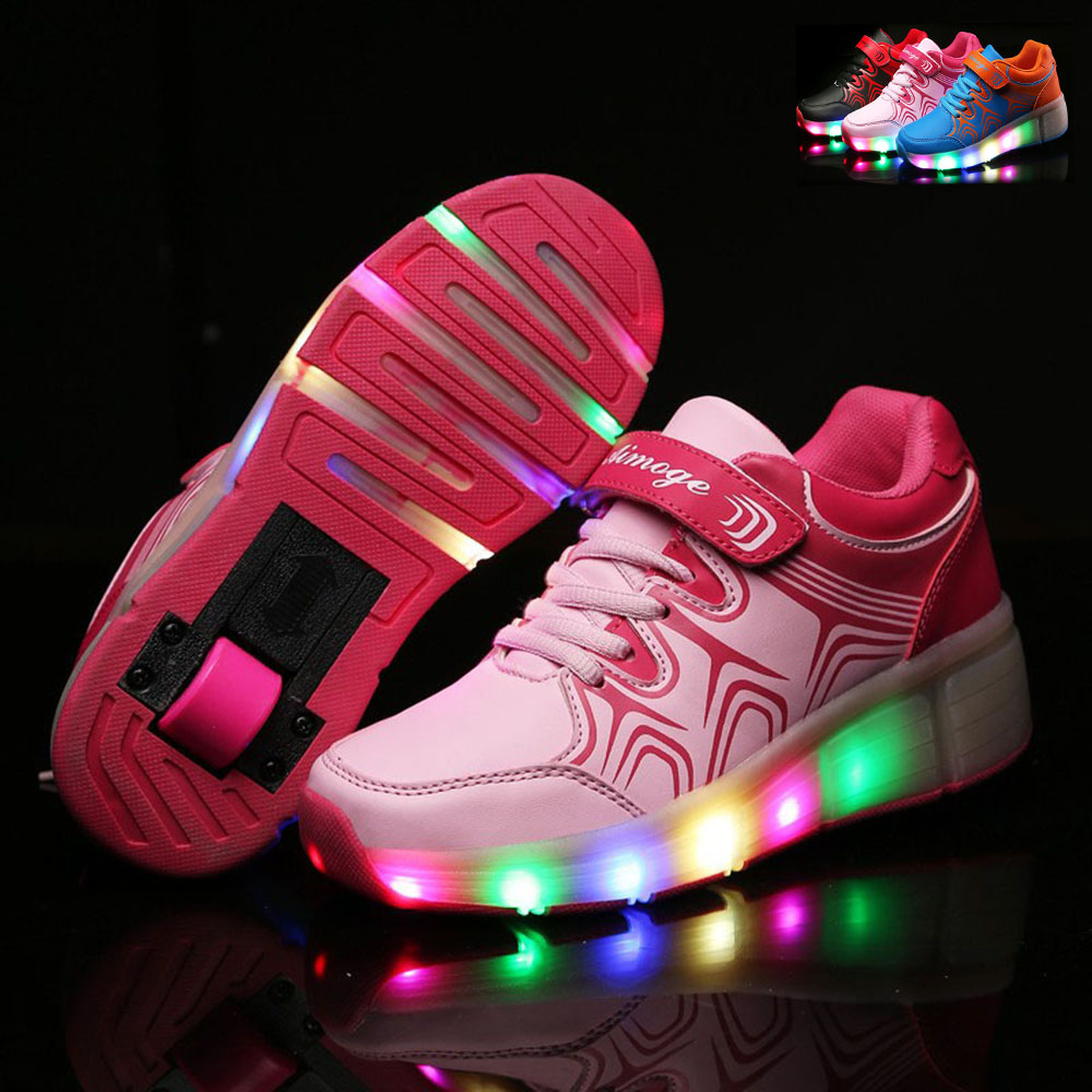 NEW 2016 Child Wheely s LED Light Heelys Roller Skate Shoes For Children Kids Girls Boys