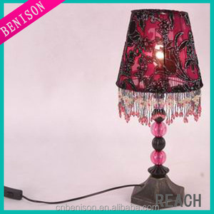 High Quality Rose Red Lace Fabric Flower Reading Lamp
