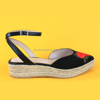 409104c5e2a Womens Flowers embroidered closed toe black platform espadrilles sandals