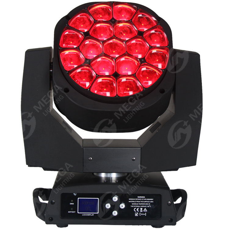 19 pcs 15 w led 큰 bee 빔 wash effect 각 led work independly moving head 빛