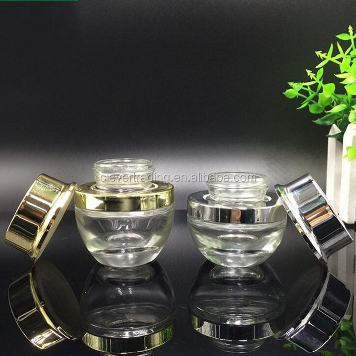 cosmetic cream container 50g clear glass jar with black lids