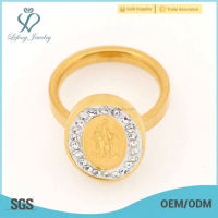 New arrival oval yellow gold women's ring , fashion crystal jewelry creat your own rings