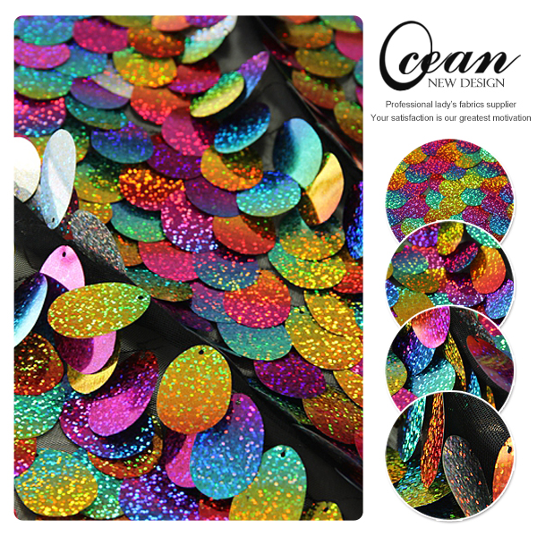 Ocean Textile Wholesale Oval Sequin Fabric