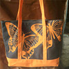 Cheap Volvet orange butterfly print inidian women tote bag